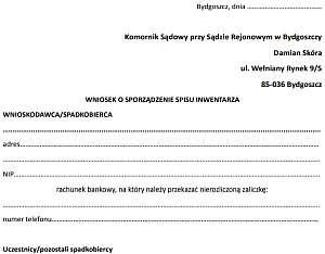 Wniosek o sporządzenie spisu inwentarza